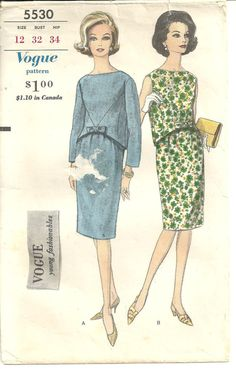 SALE Vintage Vogue Pattern 1960s 2pc dress Top by designersreserve, $37.50