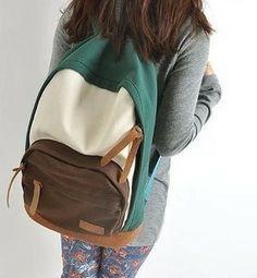 2013 women's handbag casual vintage color block backpack canvas backpack student school bag travel bag