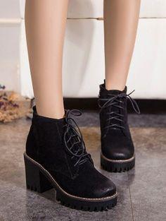 7c30dff134c Tie Up Chunky Heel Zip Ankle Boots - BLACK 39 Mobile Vintage High Heels