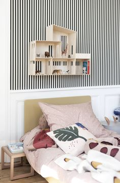 tour the home of ferm living in copenhagen a sophisticated nursery with plenty of personality upholstered bed base 336 best ✿◠‿◠decor & diy. Ferm Living Wallpaper, Kids Wallpaper, Baby Room Decor, Bedroom Decor, Bedroom Ideas, Native American Bedroom, Grey Feature Wall, Green Cabinets, Striped Wallpaper