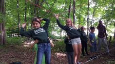 Trusting our partners to catch us #funinfrench #lowropes #trust #friendship