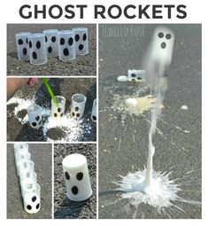 Flying Ghost Rockets- these rockets fly high into the air. FUN Fall Science kids love Wow the kids this autumn and make ghost rockets ! We love Halloween . We also love science . Today, we combined the two to make flying ghost rockets . Halloween Science, Halloween Crafts For Kids, Fall Crafts, Halloween Fun, Halloween Crafts Kindergarten, Halloween Preschool Activities, Kids Crafts, Ghost Crafts, Halloween Projects