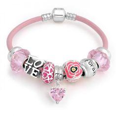 925 Silver Forever Love Flower Heart Pandora Style Charm Bracelet