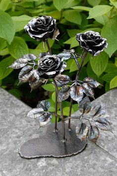 Metal Art Sculpture Steel Metal Iron Rose Flowers Welded Forever Rose Anniversary Wedding Birthday Valentines Unique Gift Present for Her in my https://www.etsy.com/shop/KThandmadeDesign?ref=hdr_shop_menu&section_id=19272963