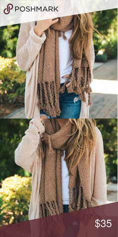 """NWT Knit Tassle Scarf NWT, the oversized tassels on this chunky scarf give it a slightly edgy and trendy feel. It's super soft and cozy. 100% acrylic, 20"""" x 77"""". Color is a rosy brown. Accessories Scarves & Wraps"""