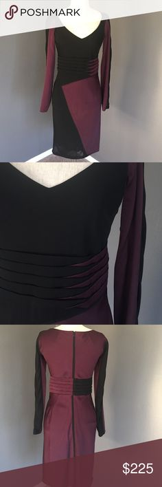Zac Posen Silk Dress Authentic Zac Posen silk dress beautiful eggplant and black colors excellent condition. Worn once v neck, long two toned sleeves. Horizontal pleats at waist hidden back zip. Length approx 37 inches waist 28 bust 34 all reasonable offers considered Zac Posen Dresses