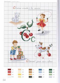 point de croix grille et couleurs de fils abecedaire enfants, lettre c