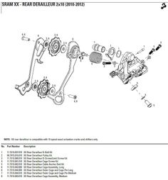 2010-2012 sram xx rear derailleur exploded parts diagram