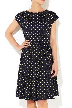Navy Blue And Lime Green Polka Dot Dress