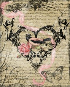 Heart with bird rose cherubs  on writing