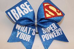 Girls' Accessories I Base What's Your Super Power Cheer Bow Blingitoncheerbows Cheerleading Jumps, Cheer Stunts, Cheerleading Gifts, Cheerleader Gift, Cheer Team Gifts, Cheer Mom, Cheer Base, Cute Cheer Bows, Cheer Outfits