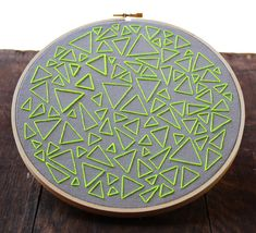 Neon Green on Gray Triangle Traffic Hand Embroidery by ISewpose, $50.00