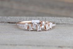 Manhattan Rose Gold Round Brilliant And Baguette Cut Diamond Ring Engagement Wedding Band Promise Stackable Stacking staggered Platinum Wedding Rings, Wedding Rings Solitaire, Wedding Rings Vintage, Diamond Engagement Rings, Wedding Bands, Mom Ring, Baguette Diamond Rings, Black Rings, Gold Bands
