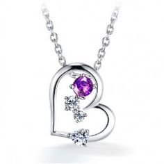 Trend Love crystal silver necklace  - USD $57.95