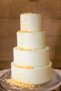 white, mint and yellow wedding cake by Sugaree Baking Company http://www.weddingchicks.com/2013/09/04/gold-and-mint-wedding-ideas/