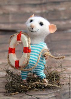 Игрушки животные, ручной работы. Ярмарка Мастеров - ручная работа. Купить мышь-моряк. Handmade. Белый, мышка войлок, юнга