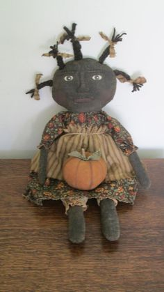 Black Doll with Pumpkin by Bettesbabies on Etsy, $43.00