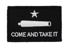 Battle of Gonzales Flag Texas Come and Take It Tactical Velcro Fully Embroidered Morale Tags Patch - Black and White