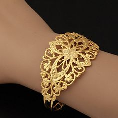 ChokuShop New Fashion Jewelry Bracelet Women 18K Real Gold Plated Decorative Vintage Fancy Design Cuff Bracelets Bangles H605 >>> Details can be found by clicking on the image.
