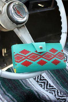 Turquoise & Red Navajo Inspired Wallet, Vegan