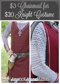 Knight costume, complete with chainmail! This costume is really easy to put together, and involves no sewing. Using some thrifted items, some fabric and...