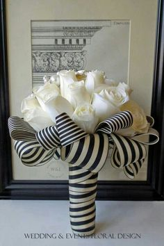 Ballerina Style Wedding Bouquet Showcasing: Gorgeous White Roses, Pearl/Silver Ornaments & Black/White Striped Ribbons~~