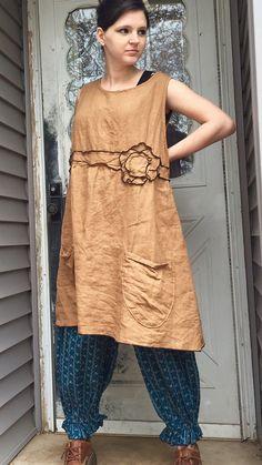 Ginger Linen Flower Jumper XL by sarahclemensclothing on Etsy