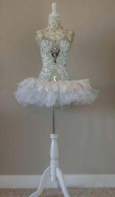 "Dress form mosaic mannequin mosaic art ""White Swan"" Mixed Media/ assemblage store display/ Ballet, fantasy art by Carrie Eckert. Mosaic Garden, Mosaic Art, Mosaic Glass, Mosaic Planters, Mannequin Art, Dress Form Mannequin, Mannequin Display, Ballet Studio, Create Collage"