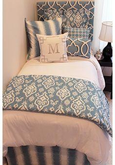 Beautiful Blue Designer Teen & Dorm Bed in a Bag | Teen Girl Dorm Room Bedding