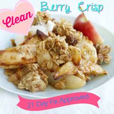 One of my favorite desserts is an Apple or Peach Crisp! Here is a clean option so that you are able to enjoy a dessert while trying to eat clean and/or doing the 21 Day Fix! ............