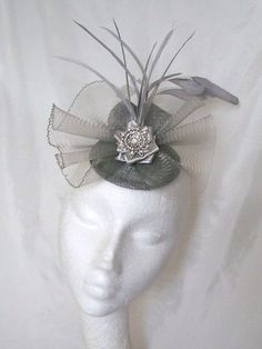 Light Pewter Grey and Silver Vintage Style Crinoline Bow Feather Plume & Rhinestone Wedding Fascinator Mini Hat - Made to Order