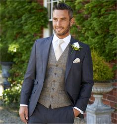 stretton charcoal grey lounge suit with grey / royal tweed waistcoat Groom And Groomsmen Attire, Groom Wear, Groom Outfit, Groom Suits, Wedding Suit Hire, Wedding Men, Wedding Groom, Tweed Wedding Suits, Wedding Ideas