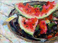 """Daily Paintworks - """"Still life with watermelon slices"""" - Original Fine Art for Sale - © Valerie Lazareva Be Still, Still Life, Gallery Website, Watermelon Slices, Fine Art Gallery, Impressionism, Art For Sale, 2018 Year, Drawings"""