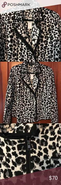 NWT Ann Taylor Leopard Print Moto Jacket NWT Ann Taylor Leopard Print Moto Inspired Jacket. The jacket is made of a heavy sweater knit.  Sexy with black skinny jeans or black leather pants or skirt! Ann Taylor Jackets & Coats Blazers