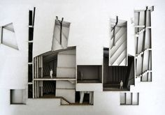 architectural model of the designed bunker for politicians; made of layered laser cut craft boards compiled into a book. Architecture Drawings, Interior Architecture, Architecture Models, Modern Rustic Decor, Architectural Section, Architectural Sketches, Arch Model, Presentation Layout, Design Model