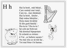 alfabetul limbii romane pentru copii in versuri - Google Search Preschool At Home, Preschool Activities, Printed Pages, School Lessons, Kids Education, Flower Crafts, Nursery Rhymes, Teaching Kids, Worksheets