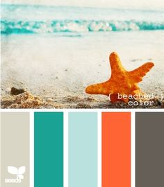 Beach Color Pallette by Imelda -add navy instead of grey -pinker coral color walls-light blue,white trim accents-navy,coral,aqua/teal,sandy tan,white like to have white rafters and coloured ceiling--see future post--