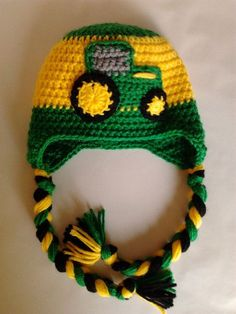 Free Crochet John Deere Hat Pattern : Pin by Elizabeth Phillips-Copeland on john deere. its all … See other ideas and pictures from the category menu…. Crochet Kids Hats, Crochet For Boys, Crochet Crafts, Yarn Crafts, Crochet Projects, Knitted Hats, Bonnet Crochet, Crochet Cap, Crochet Beanie