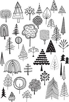 Hand drawn vector doodle trees, quirky and fun nature and Christmas. Hand drawn vector doodle trees, quirky and fun nature and Christmas clip art.<br> Hand drawn vector doodle trees, quirky and fun nature and Christmas clip art. Doodle Art, Doodle Drawings, Easy Drawings, Tree Drawings, Christmas Doodles, Christmas Clipart, Christmas Christmas, Natural Christmas, Line Art