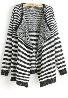 White Striped Irregular Loose Thick Acrylic Cardigan