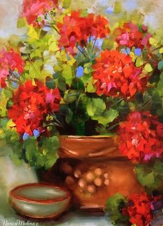 Artists Of Texas Contemporary Paintings and Art - Summer Dance Red Geraniums by Floral Artist Nancy Medina