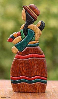 Handcrafted Cultural Wood Sculpture from Peru - Selling Flowers | NOVICA