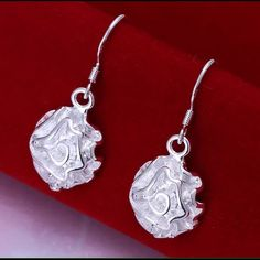 "Beautiful 925 Sterling Silver Rose earrings Beautiful Hook style 925 Sterling Silver Rose earrings. 1 1/4"" inch long Jewelry Earrings"