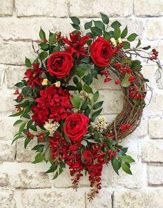 Red Silk Flower Wreath, Front Door Wreath, Grapevine Wreath, Summer Wreath, Wreath on Etsy - This beautiful red silk floral wreath was Valentine Day Wreaths, Valentine Decorations, Christmas Decorations, Valentines Flowers, Holiday Decor, Summer Door Wreaths, Holiday Wreaths, Spring Wreaths, Fresh Christmas Wreaths