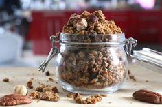 Granola IG bas noisettes et noix de pécan Sugar Free, Biscuits, Cereal, Oatmeal, Easy Meals, Keto, Nutrition, Healthy Recipes, Healthy Food