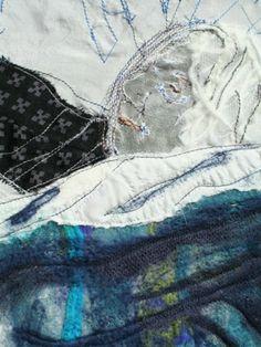 Textielcollages van Marieke Smink Textile Fiber Art, Textiles, Painting, Painting Art, Paintings, Fabrics, Painted Canvas, Drawings, Textile Art