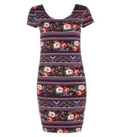 Blue Tribal Tapestry Cap Sleeve Skater Dress