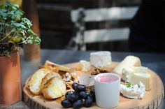 cheese and pate platter served on a wooden board :: as seen on simply photo