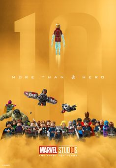 """Marvel Studios released a cool new LEGO poster for their 10 year anniversary! """"Celebrating 10 years of being more than just a hero,"""" the Marvel social media pages posted. Lego Marvel's Avengers, Avengers Movies, Lego Batman, Marvel Dc, Films Marvel, Marvel Heroes, Poster Marvel, Univers Marvel, Lego Ironman"""