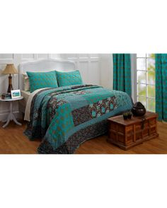 VHC Brands Marci King Quilt Set With 2 Shams - Aqua/Chocolate/Gold